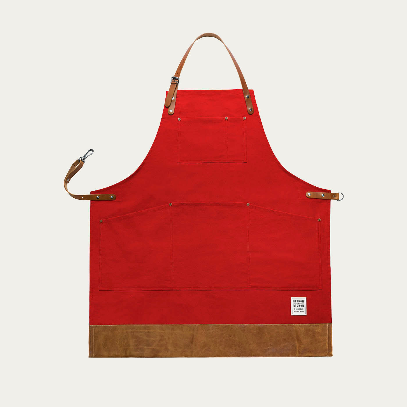 Red Leather Factory Trimmed Apron | Bombinate