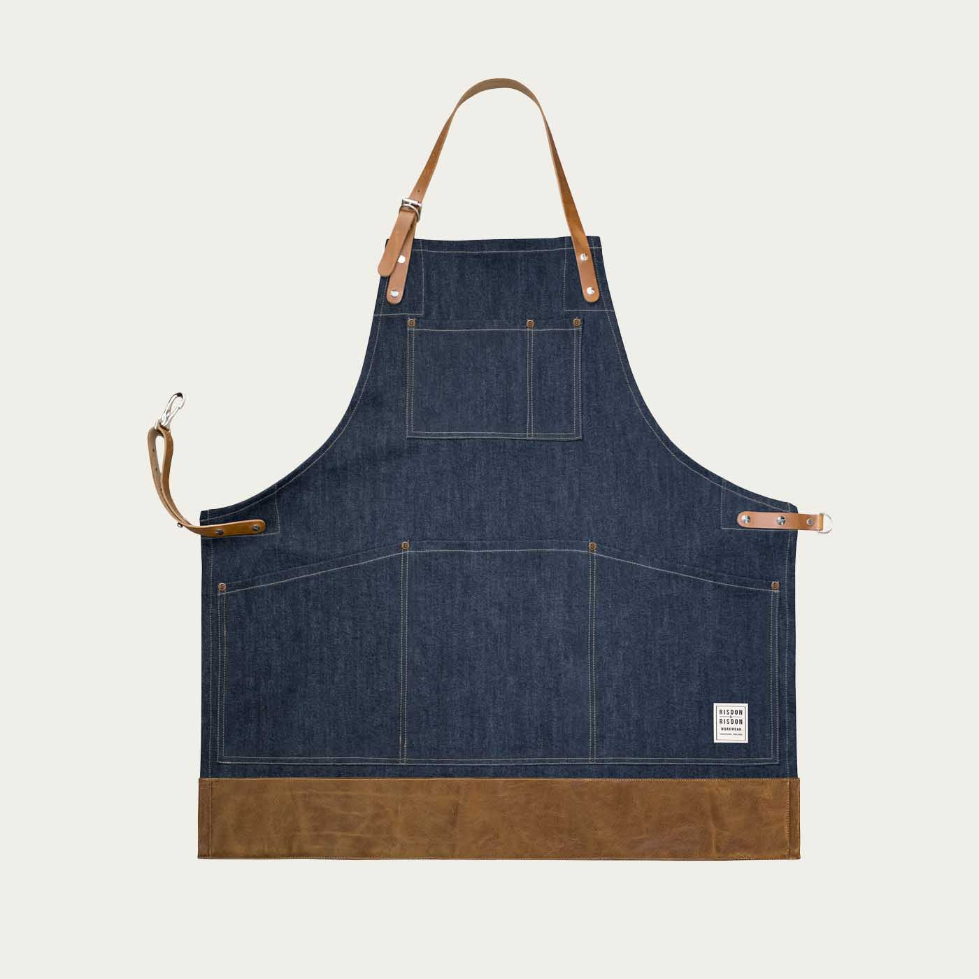 Denim Leather Cone Mills Trimmed Apron   | Bombinate