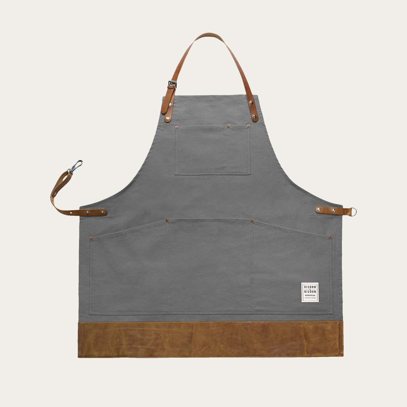 Grey Leather Heritage Trimmed Apron   | Bombinate
