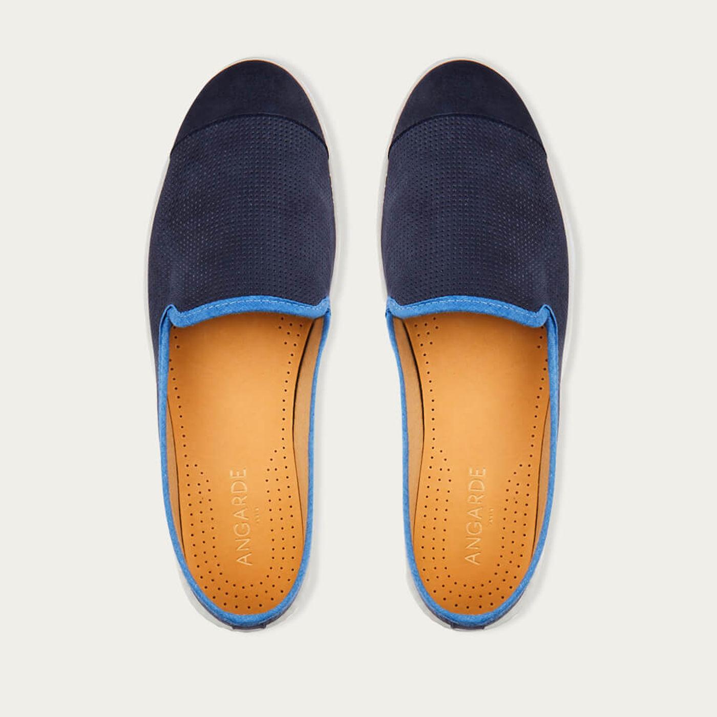 Indigo Blue Men's Espadrille Slip-On Leather | Bombinate