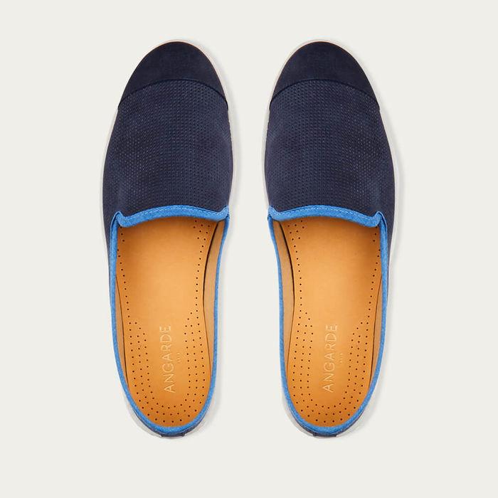 Indigo Blue Men's Espadrille Slip-On Leather   Bombinate