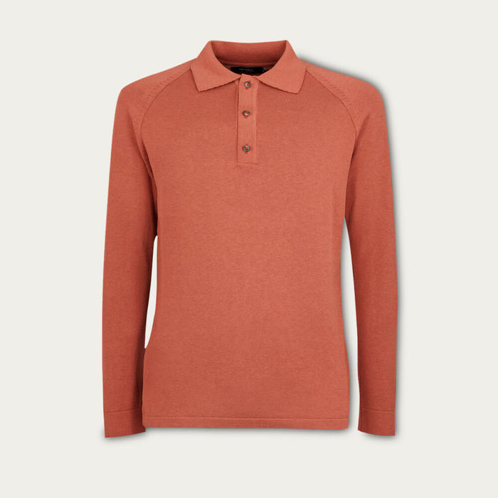 Brick Red The Silk Cotton Polo Shirt   Bombinate