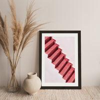 Red Stairs Art Print Black Frame | Bombinate