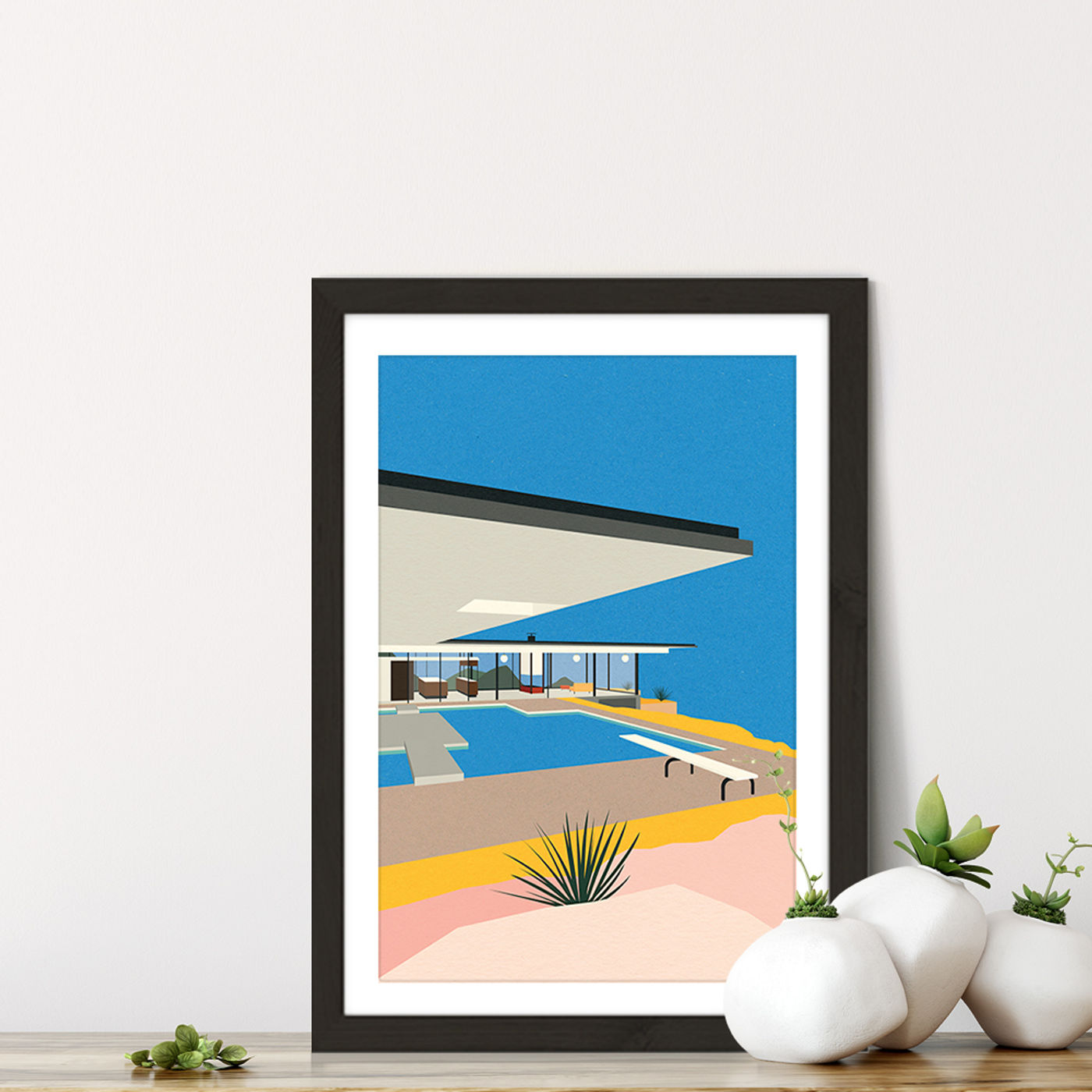 LA Stahl House Art Print Black Frame   Bombinate