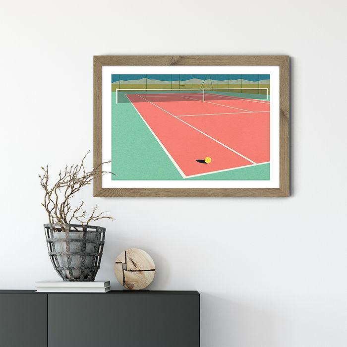 Nevada Tennis Court II Art Print Oak Frame   Bombinate