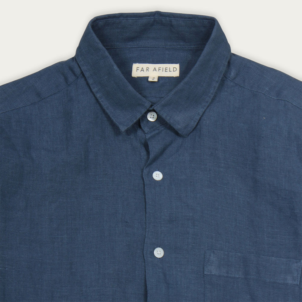 Ensign Blue Linen Classic L/S Shirt  | Bombinate