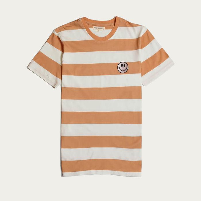 Toasted Orange Stripe Embroidered Acid Smile T-Shirt | Bombinate