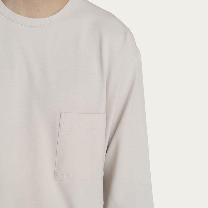 Ecru Relaxed Long Sleeve Crew Neck T-Shirt | Bombinate