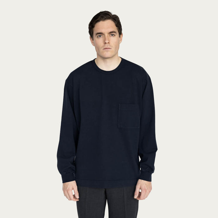 Navy Relaxed Long Sleeve Crew Neck T-Shirt | Bombinate