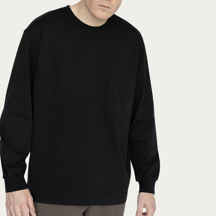 Black Relaxed Long Sleeve Crew Neck T-Shirt | Bombinate