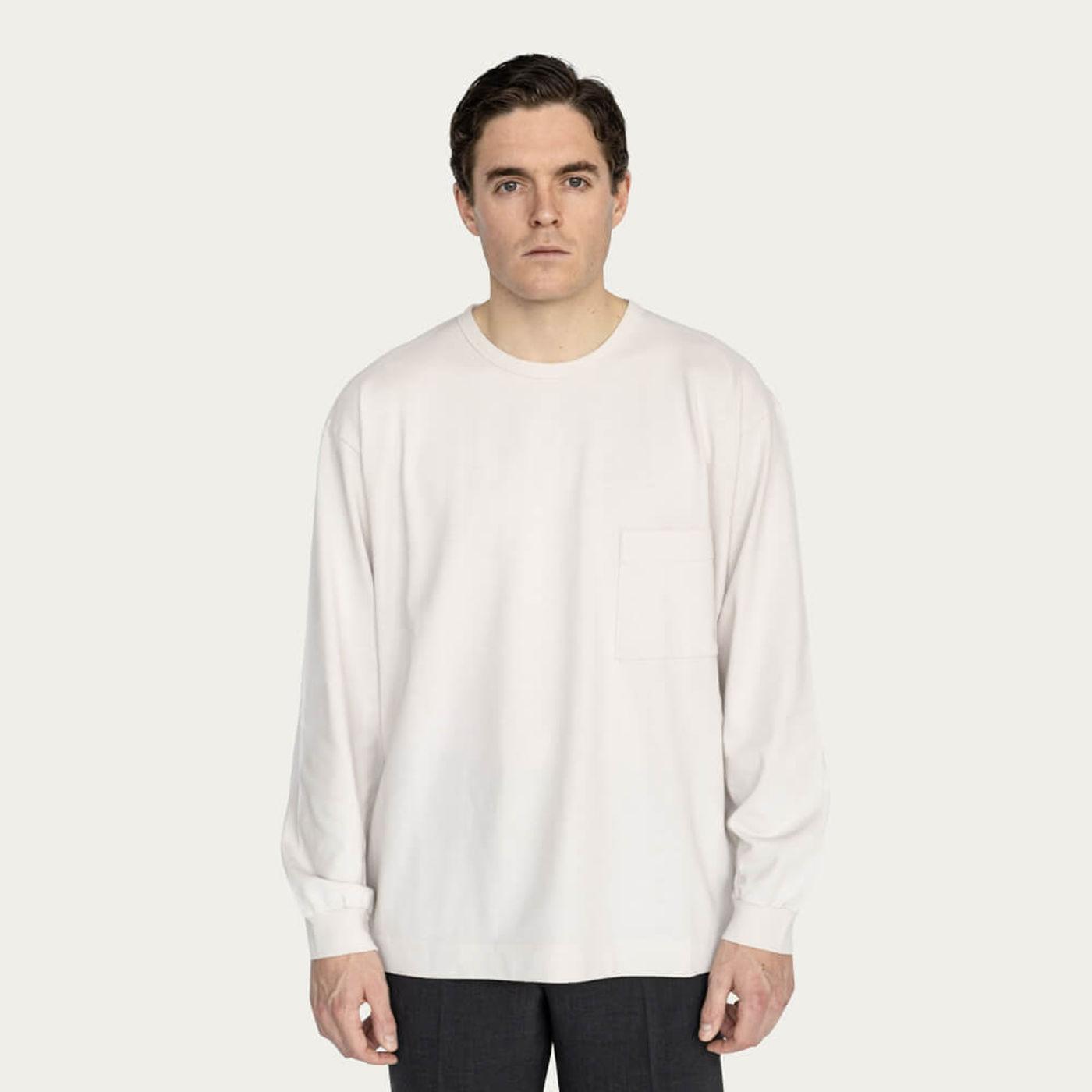 Ecru Relaxed Long Sleeve Crew Neck T-Shirt   Bombinate