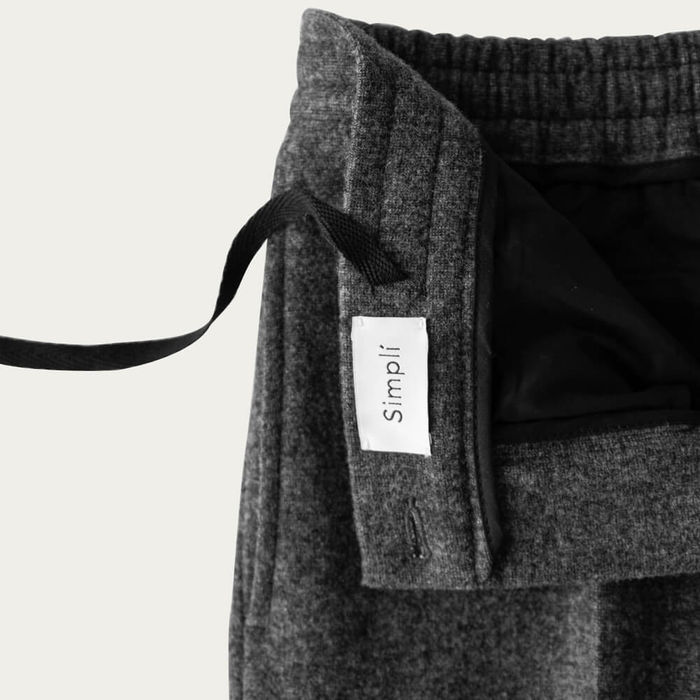 Charcoal Easy Tailored Wool Trouser   Bombinate
