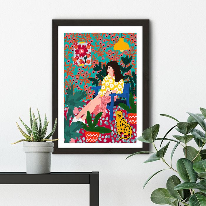 Waiting Girl Art Print Black Frame | Bombinate