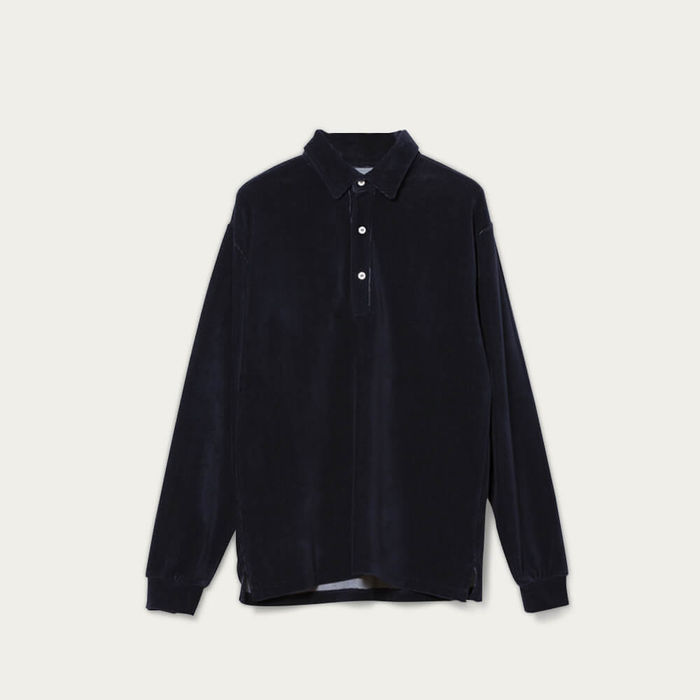 Navy Mesquita Long Sleeve Polo Shirt | Bombinate