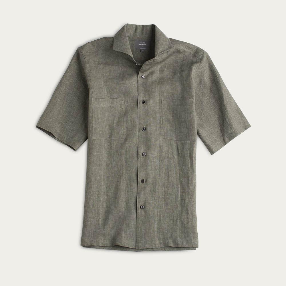 Green Linen Maxwell SS Cutaway Shirt  | Bombinate