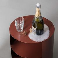 Black-Red Hide Side Table   Bombinate