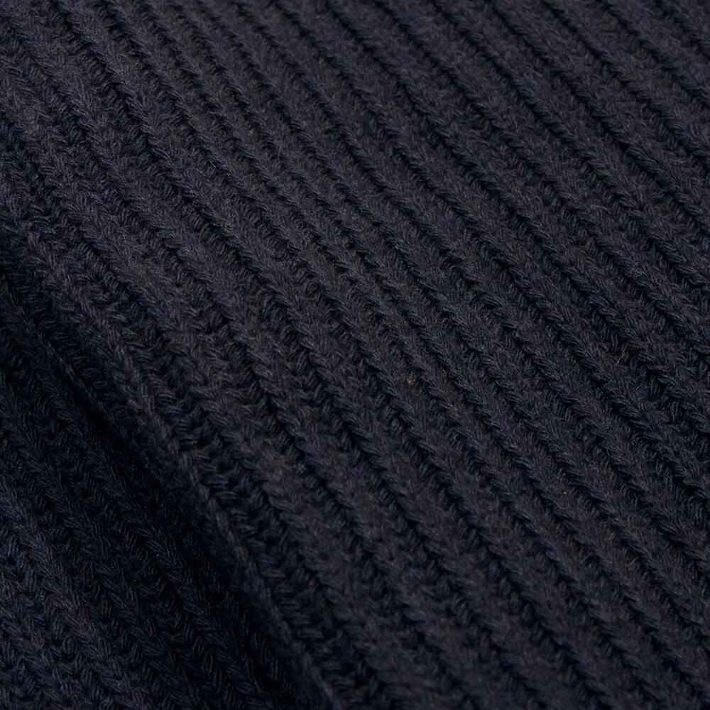 Blue Graphite Tanner Ribbed Knit Lambswool Mix | Bombinate