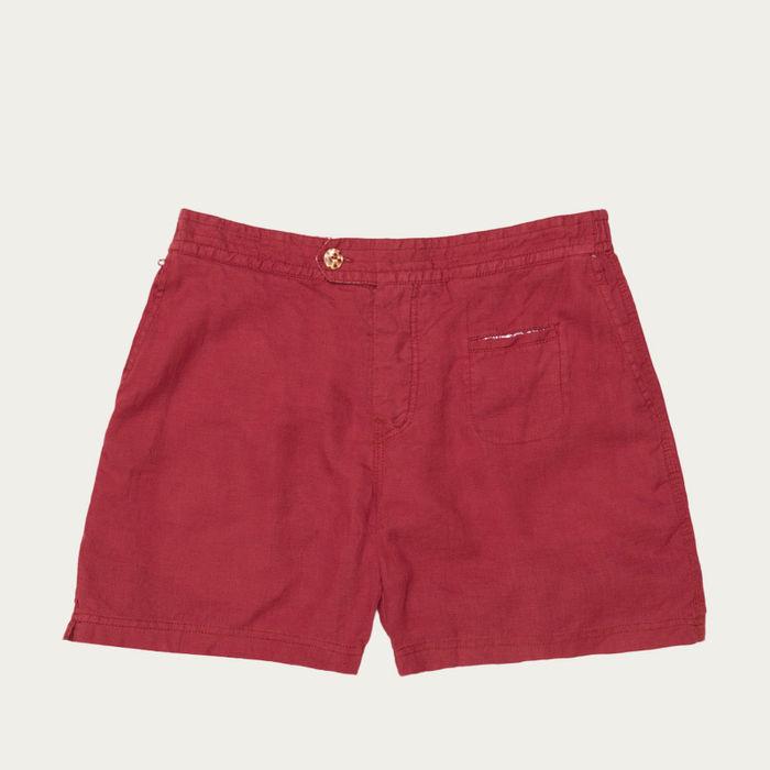Rosso Isola Rossa Linen Button Swim Short | Bombinate