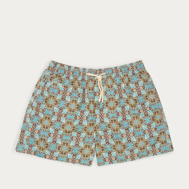 Light Blue / Brown Vendicari Micro Elastic Swim Short | Bombinate