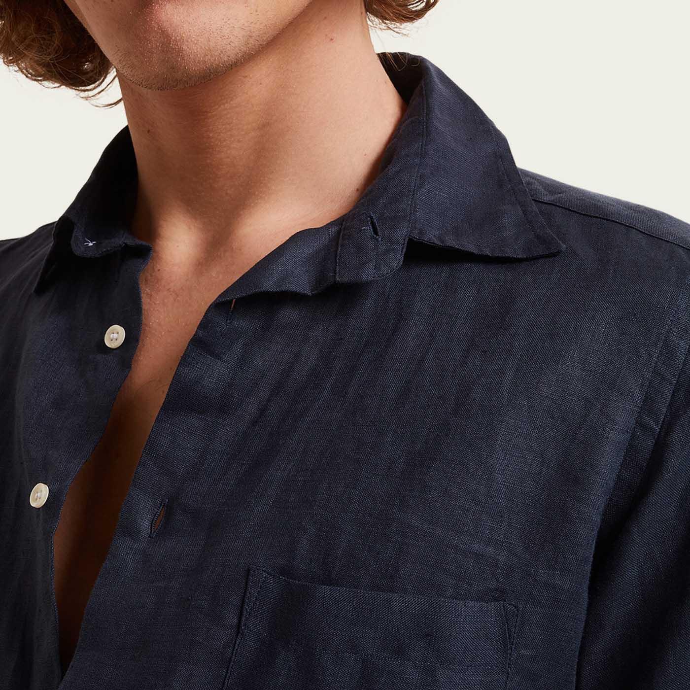 Navy Stromboli Linen Shirt  | Bombinate
