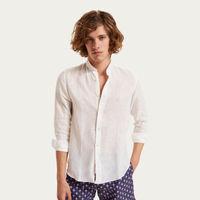 Spiaggia Bianca Mao Collar Linen Shirt   Bombinate