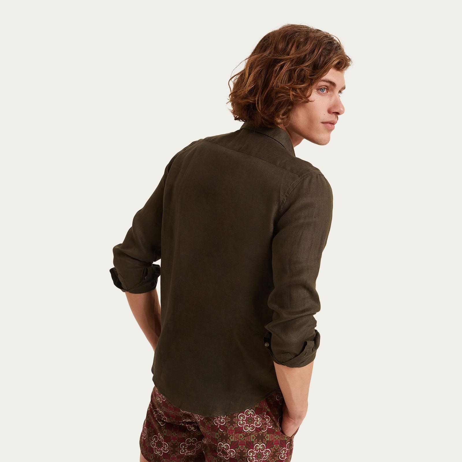 Verde Puglia Two Pockets Linen Shirt | Bombinate