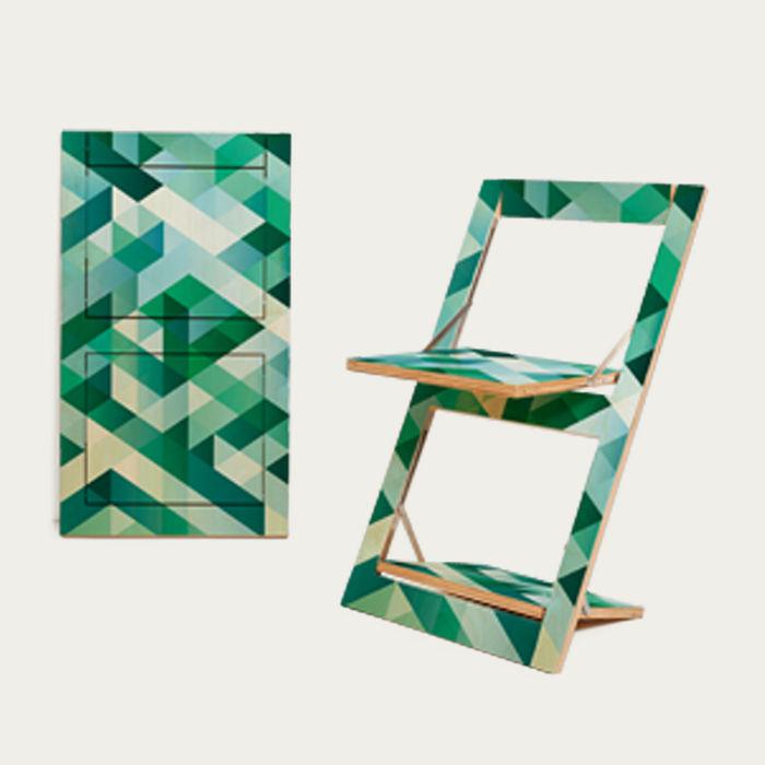 Cross Green on Birch Fäpps Folding Chair  | Bombinate