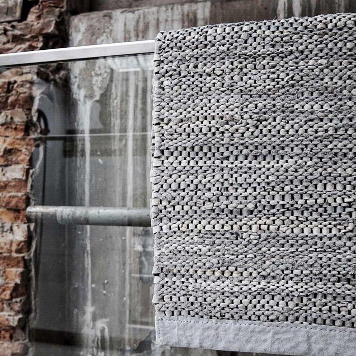 Light Grey Leather Rug | Bombinate