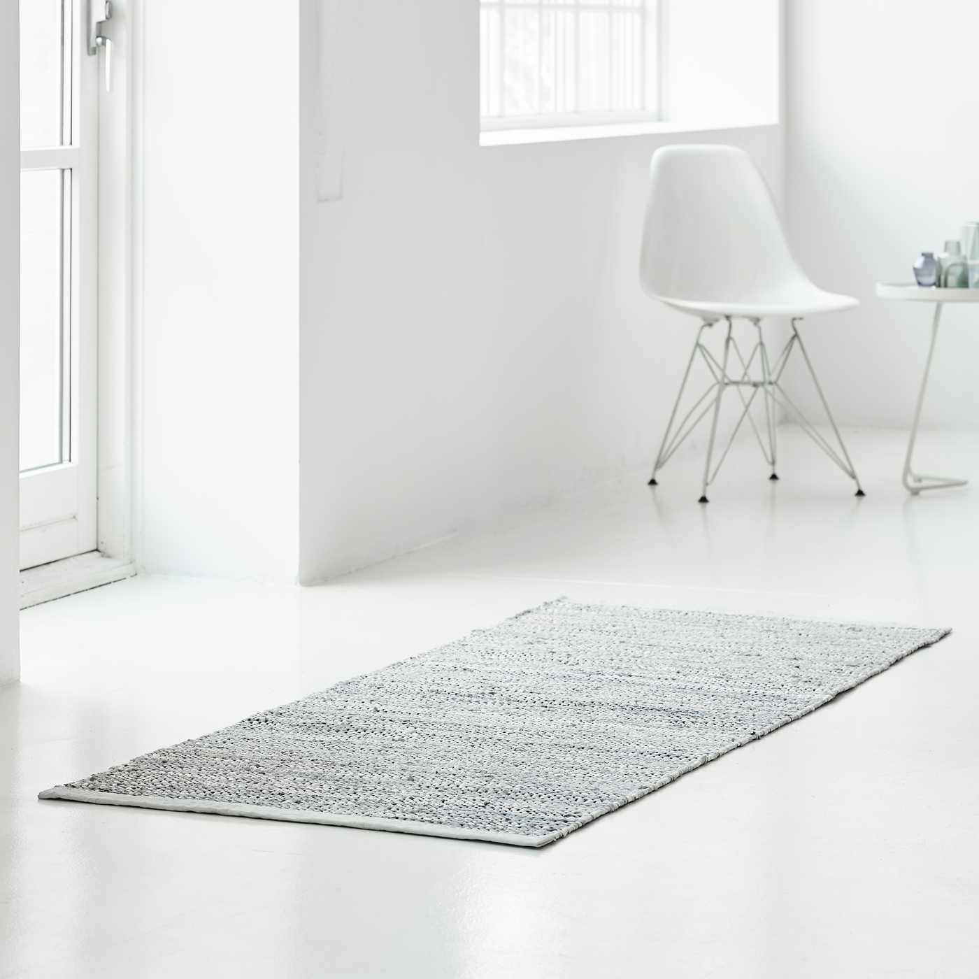 Light Grey Leather Rug | Bombinate