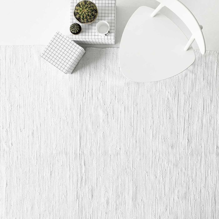 White Cotton Rug | Bombinate