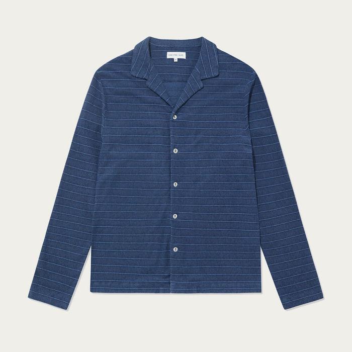 Navy Stripe Open Collar Long Sleeve Shirt | Bombinate