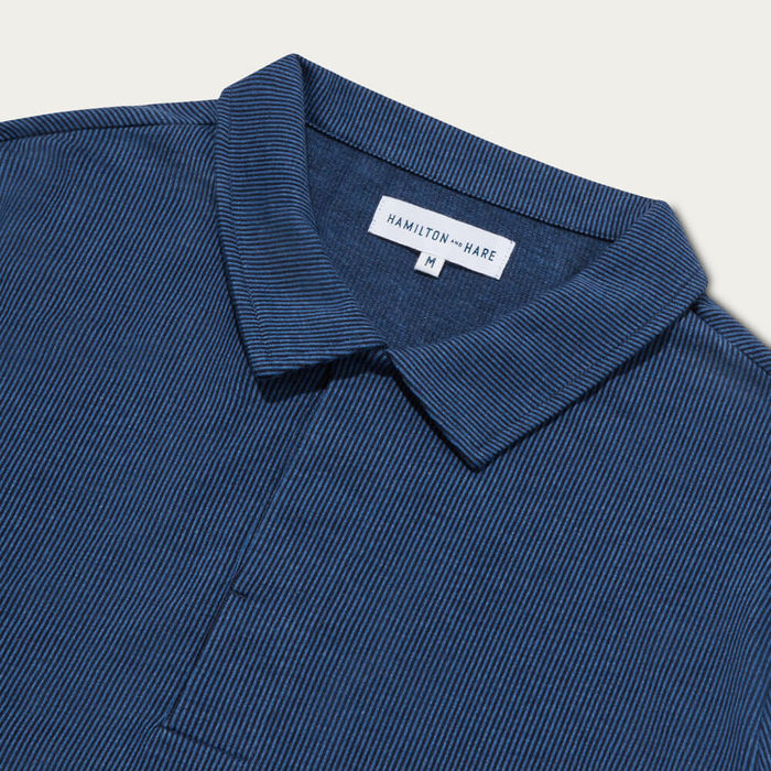 Navy Stripe Long Sleeve Polo | Bombinate