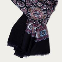 Black/Dark Grey Cashmere & Silk Scarf | Bombinate