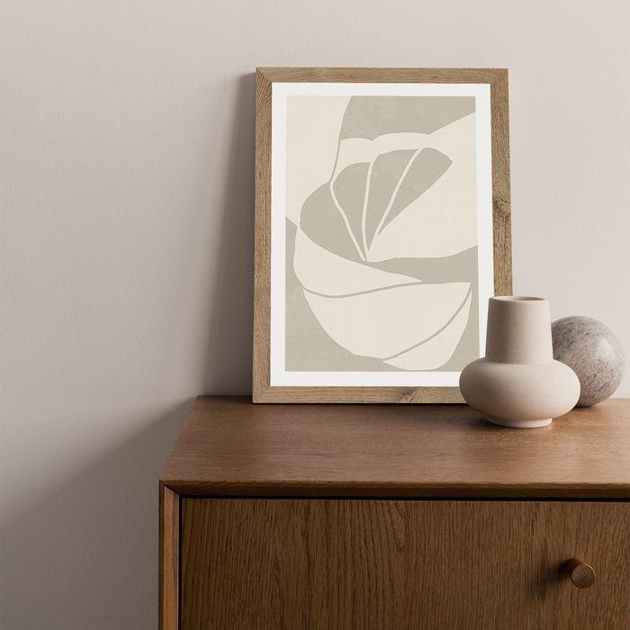 Flourish No 02 - Sand Art Print Oak Frame | Bombinate