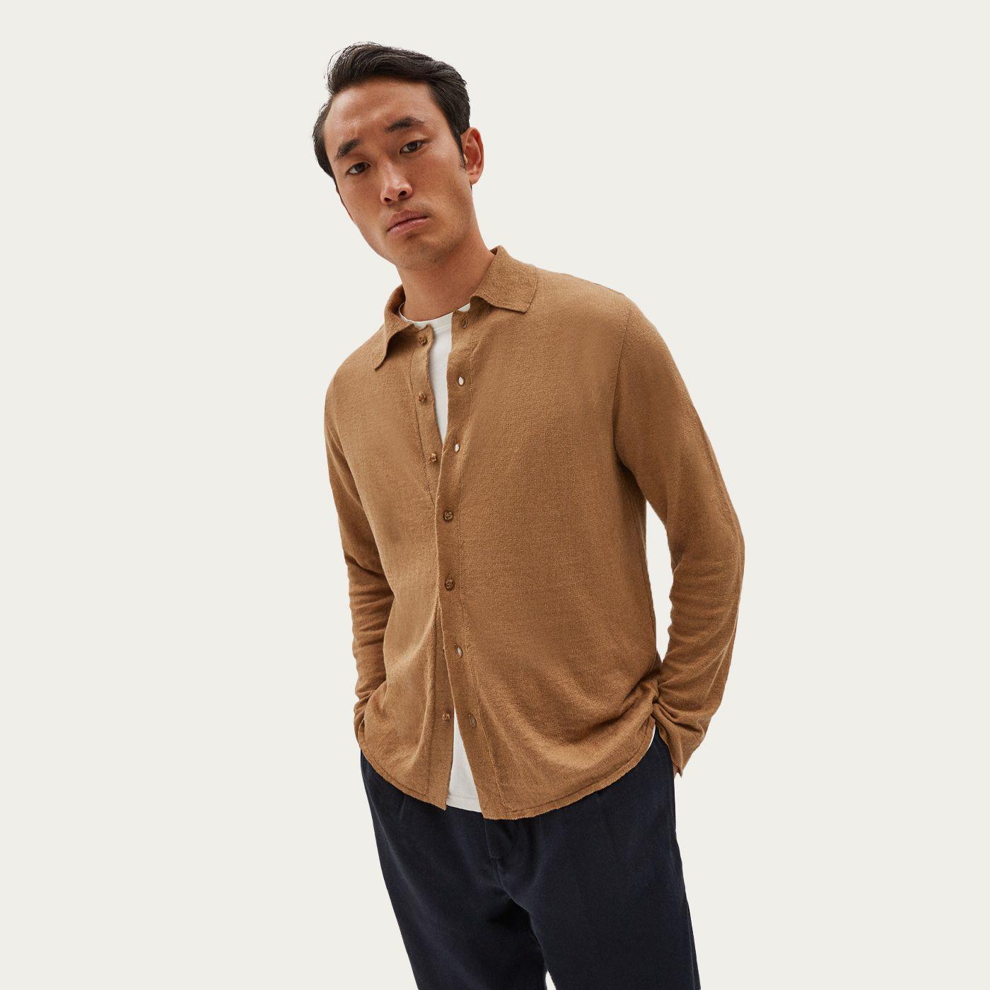 Camel Linen Knit Cardigan Shirt | Bombinate