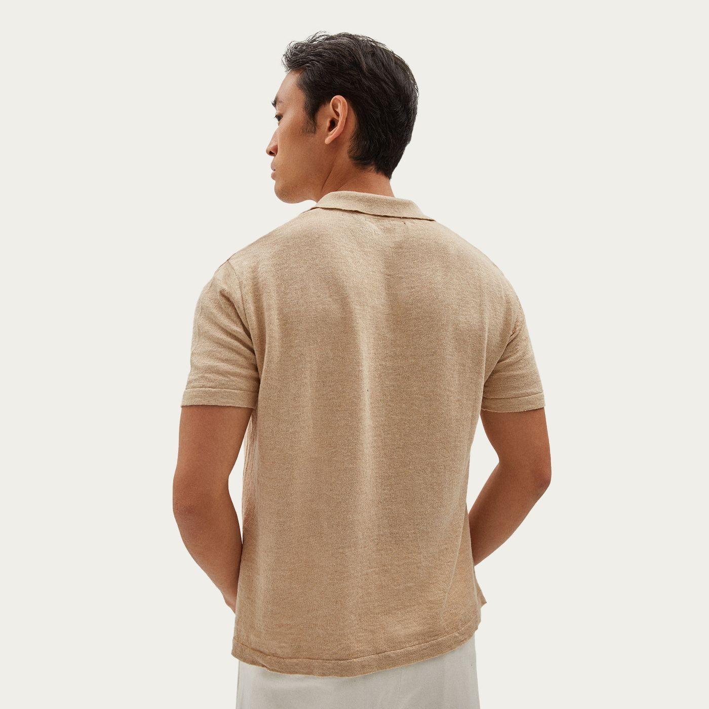 Beige Short Sleeve Linen Polo   Bombinate