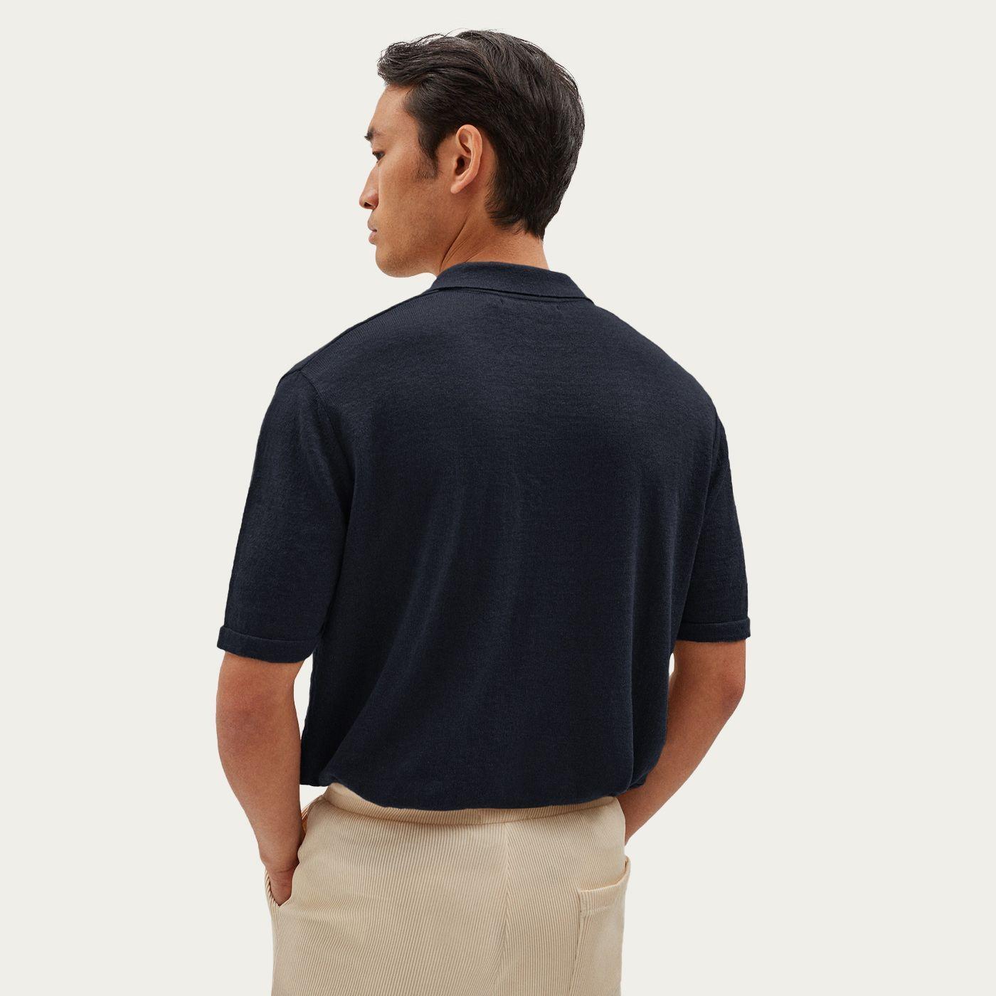 Blue Short Sleeve Linen Polo | Bombinate