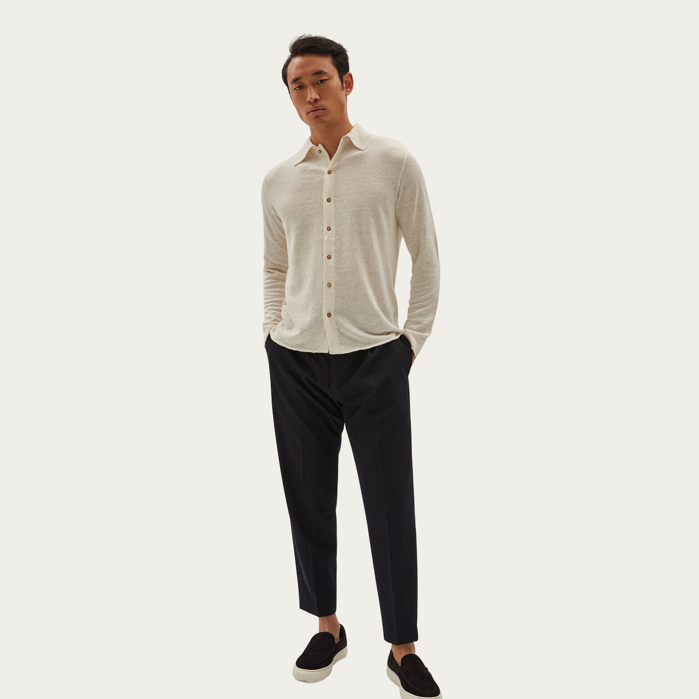 Ivory Linen Knit Cardigan Shirt | Bombinate