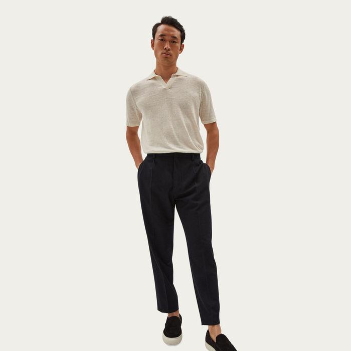 Ivory Short Sleeve Linen Polo | Bombinate