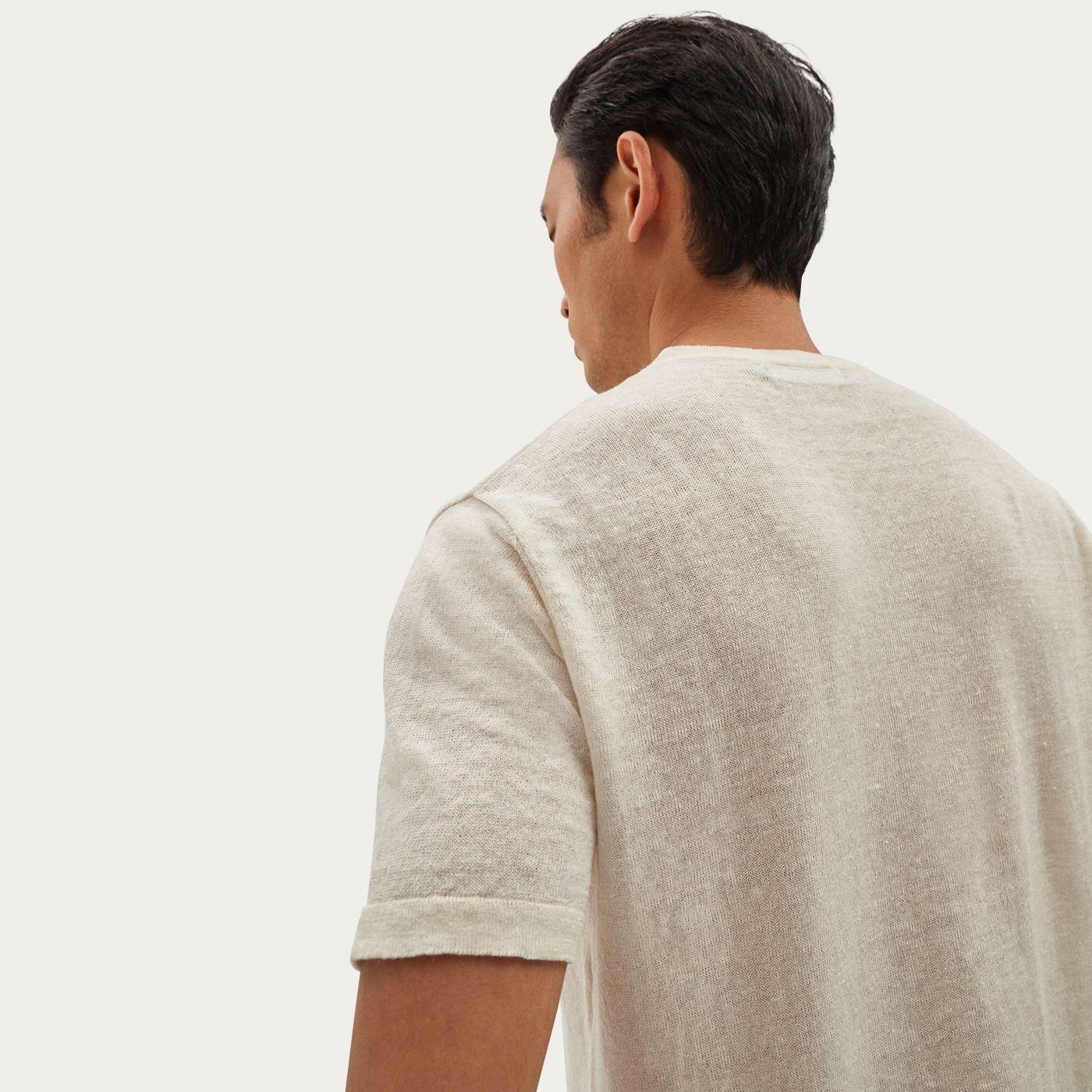 Ivory Linen Knit T-Shirt | Bombinate