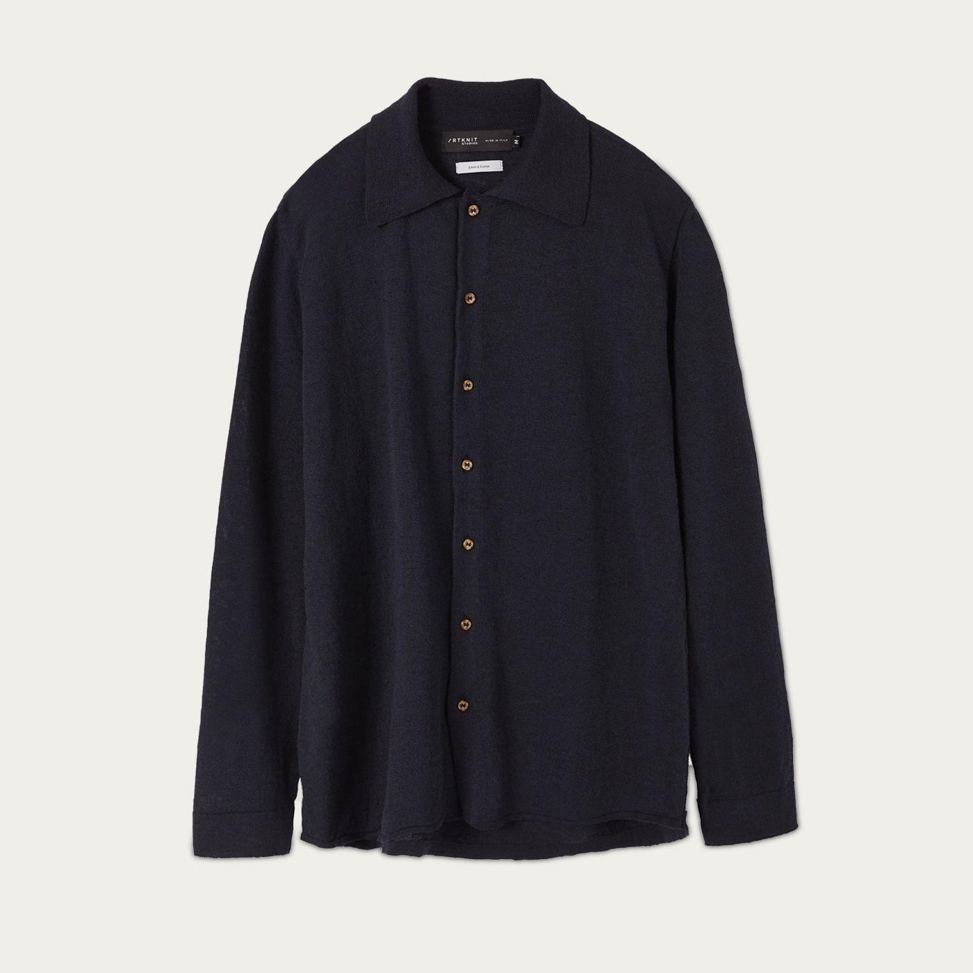 Blue Linen Knit Cardigan Shirt | Bombinate
