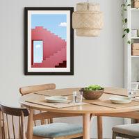 Red Maze Art Print Black Frame   Bombinate