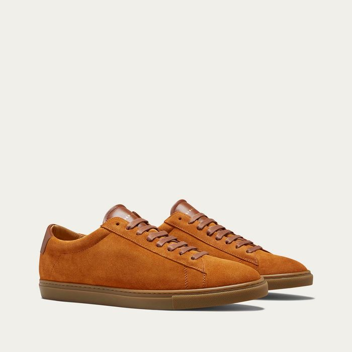 Camel Suede Low Split Sneakers   | Bombinate