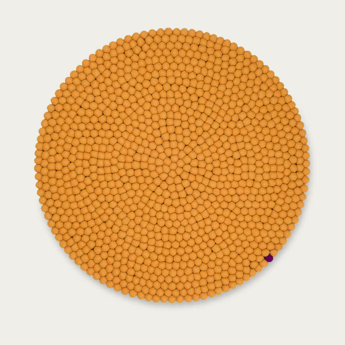 Ochre Yellow Round Felt Ball Rug Big One   Bombinate