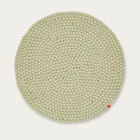 Green Beige Round Felt Ball Rug Big One | Bombinate