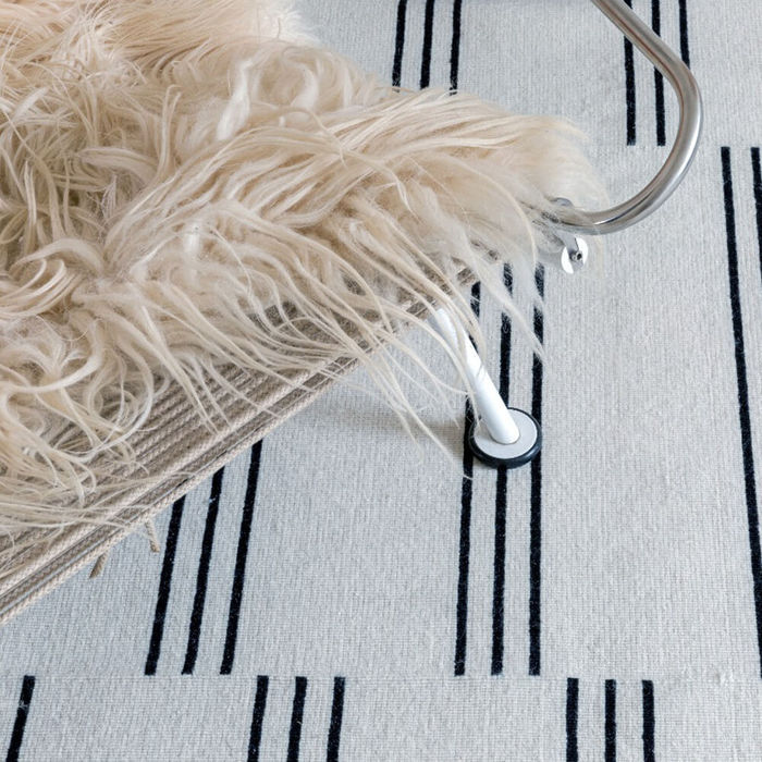 Cream/Black Stripes Rug | Bombinate