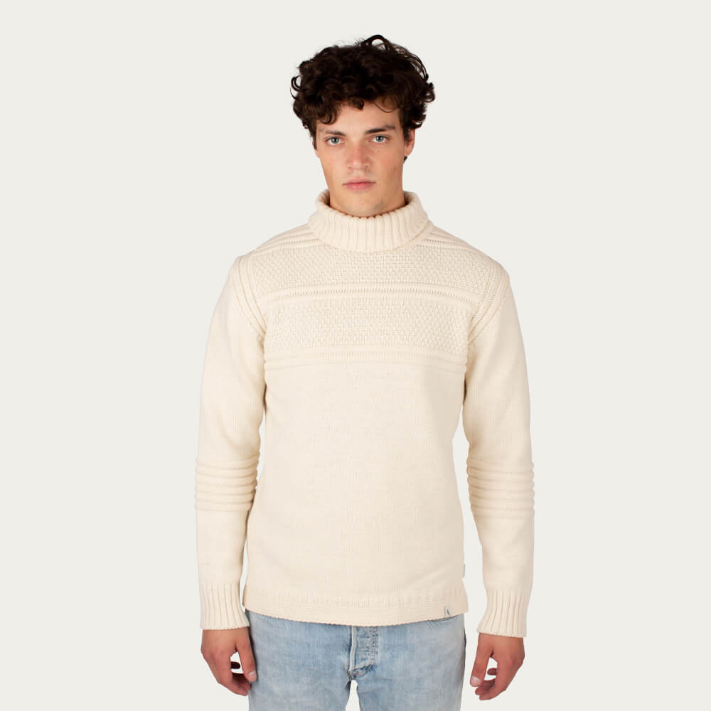 Cream Guernsey Polo Neck | Bombinate