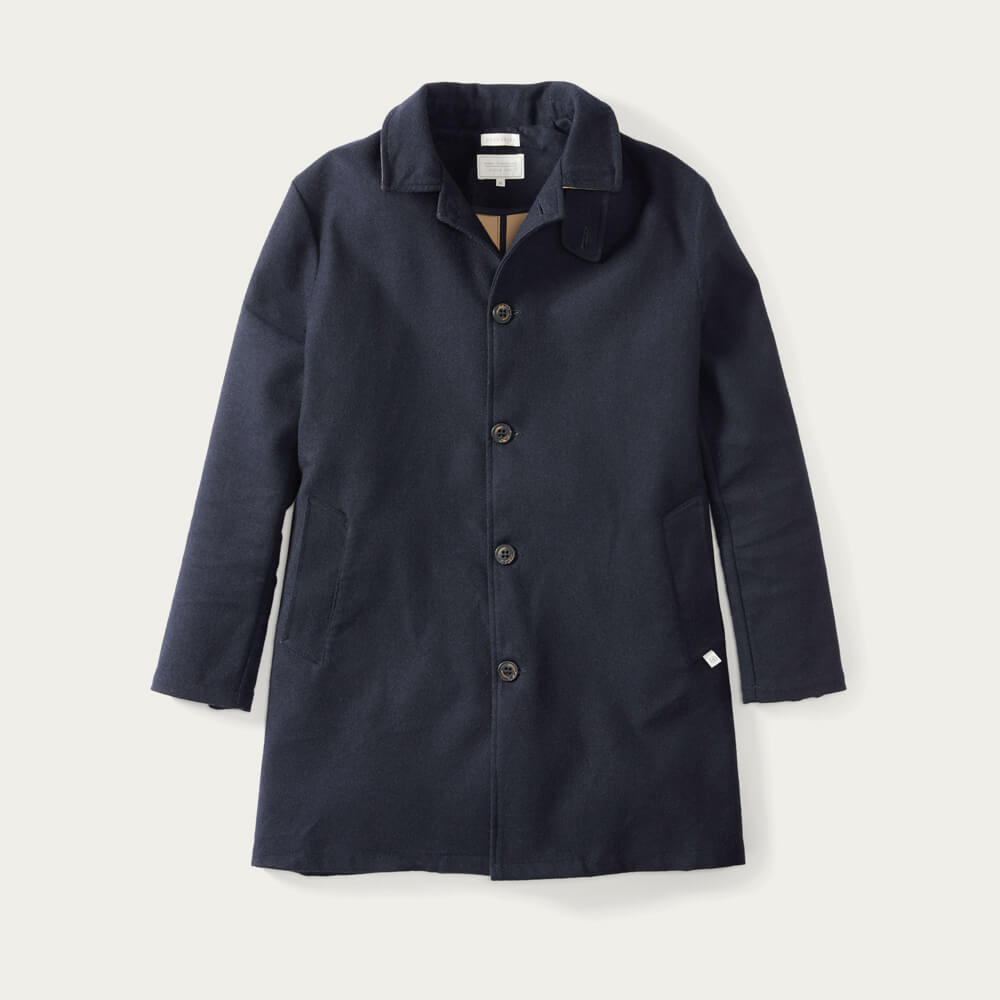 Navy Bonded Wool Mac | Bombinate