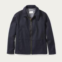 Navy Bonded Wool Zip Shirt | Bombinate