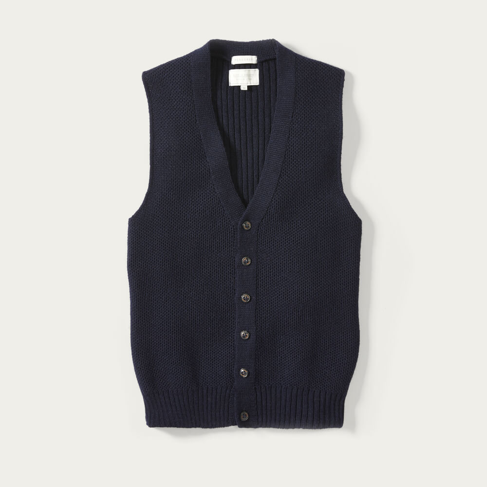 Navy Goodwin Knitted Vest | Bombinate